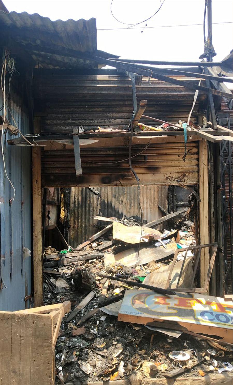 Burned shops during the 2019 violence at Kankinara market.
