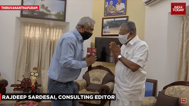 Rajdeep visits the chief minister at his official residence in Kerala, and greets him with a swagatam.