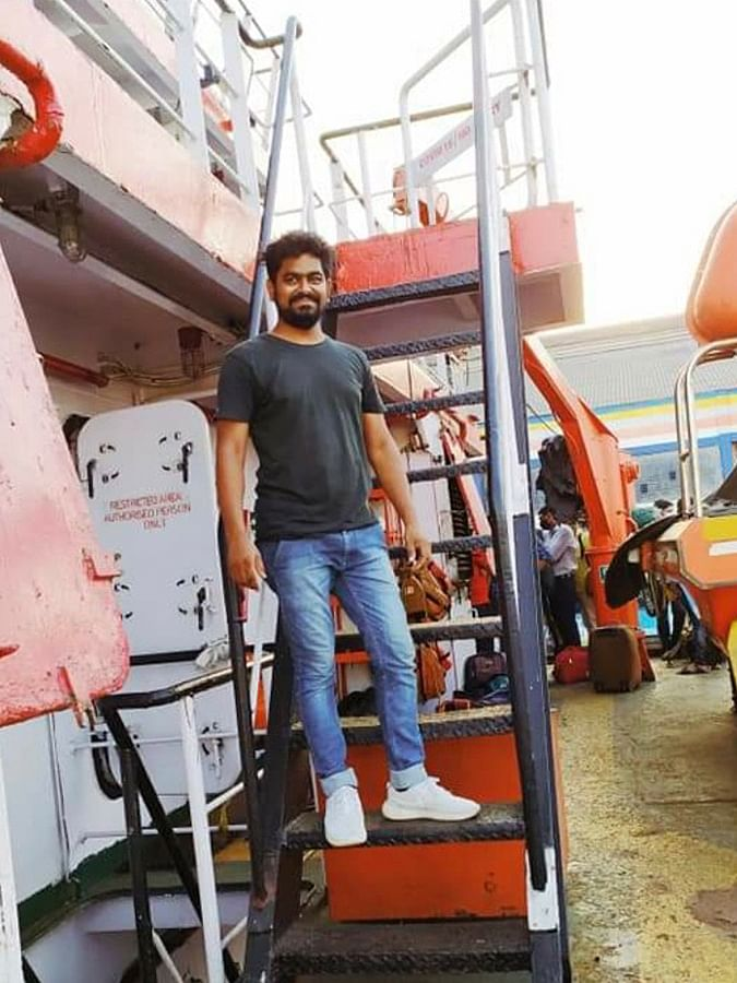Naresh Kharatmol on board barge P305.