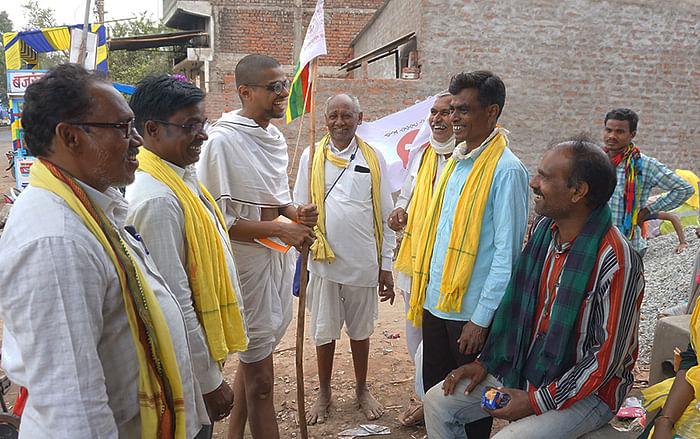 Devansh Mehta dressed up as Mahatma Gandhi.