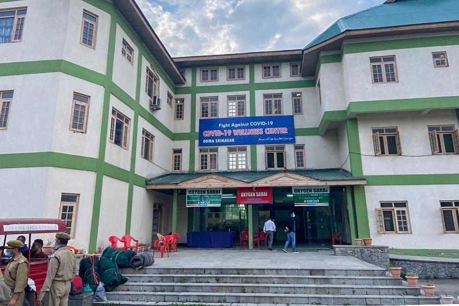 The oxygen facility is set up inside the Haj House in Srinagar.