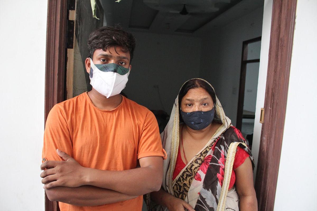 Ankit and his mother Babita at their home in Meerut's Nangla Battu.