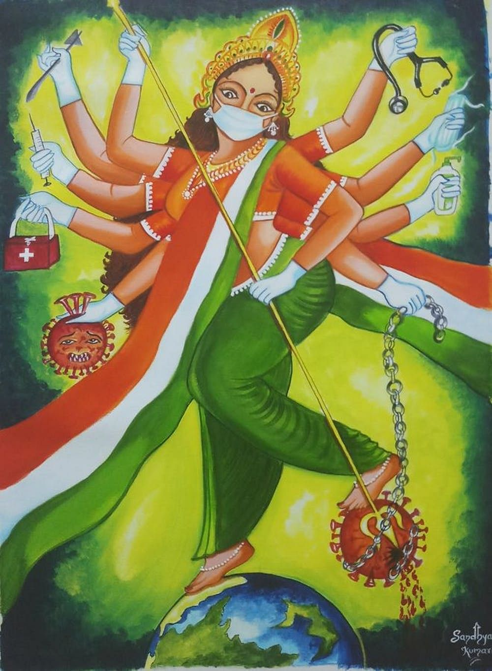 कोरोना वायरस मर्दिनी, संध्या कुमारी, Gallerist.in