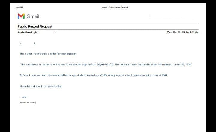 लुसियाना टेक यूनिवर्सिटी द्वारा भेजा गया नोटिस