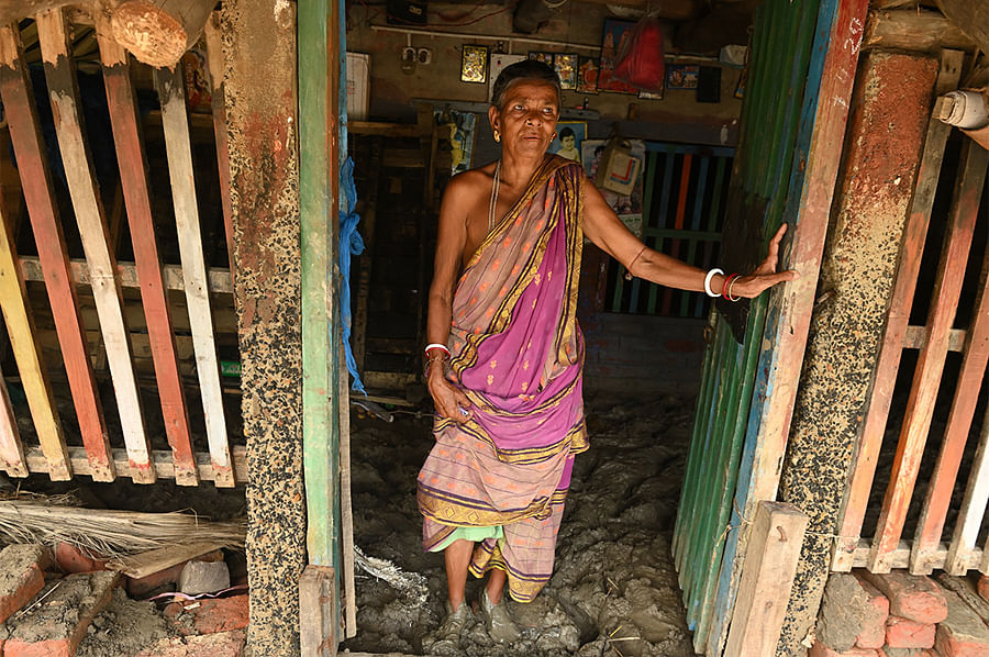 Usha Mondal of Netaji Nagar did not stop crying for 72 hours after Yaas hit. Her house withstood the waves but its interior is now a field of mud. With the monsoon coming, she worries about where her two-year-old grandson will sleep.