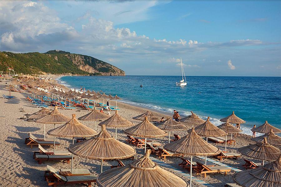 The Dhërmi coast in Albania, where the Sandesaras have a permit to build a tourist resort. Credit: Olga Kolos
