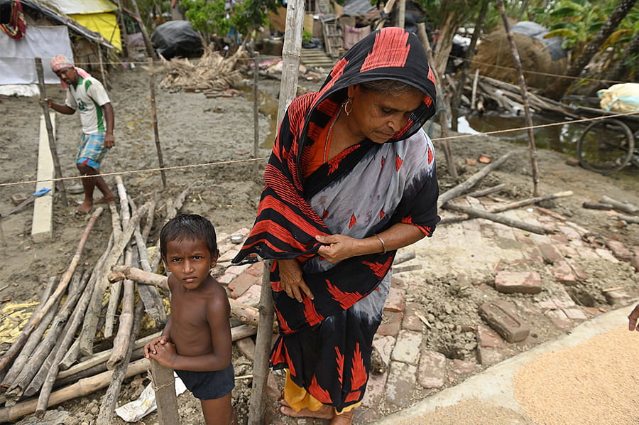 Over 3,000 families in Mousuni have lost everything to the tidal wave. Stored rice is damaged beyond redemption, the fish have died in backyard ponds, and houses have melted. Yet again, they'll have to build their lives back from scratch.