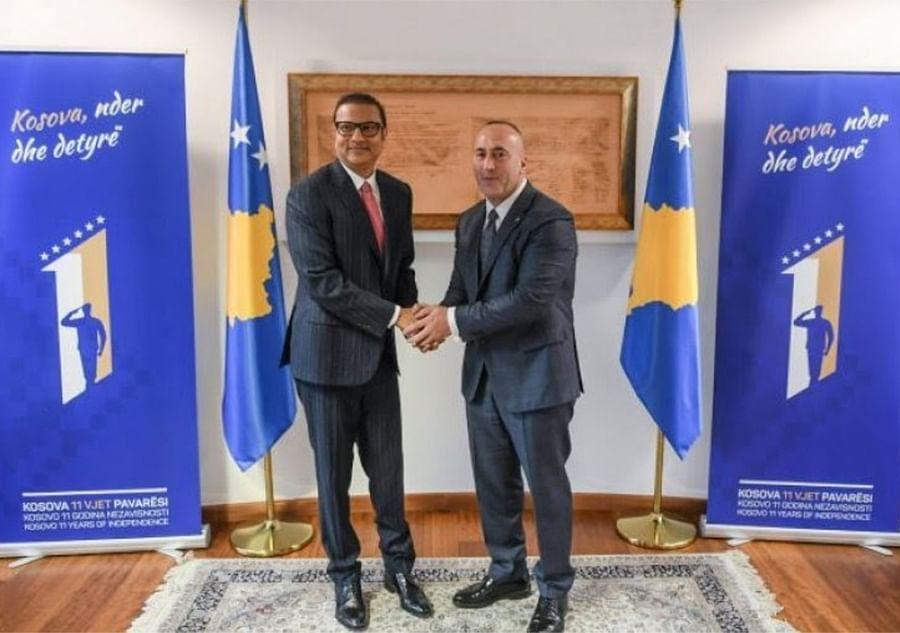 Chetankumar Sandesara meets Kosovo's then prime minister Ramush Haradinaj in February 2019. Credit: Facebook