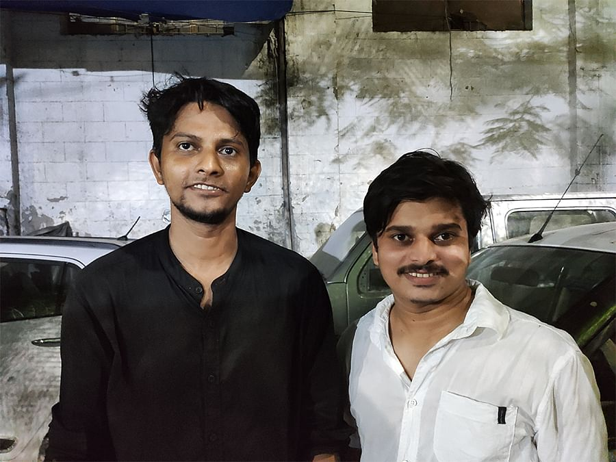 Riyaz and his friend at the funeral in Jamia Millia Islamia.
