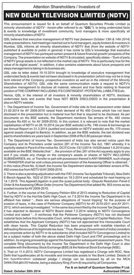 Public Notice In ET About NDTV Keeping Its Investors In The Dark
