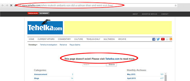 Tehelka Pulls Down A Story About A Car Crash Involving A Reliance-owned Vehicle
