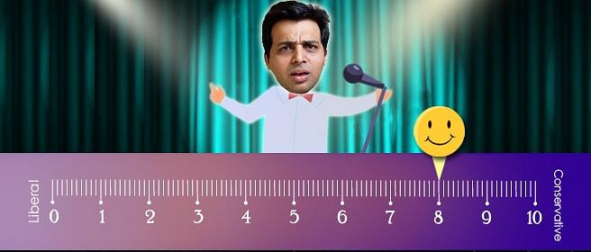 Amit Tandon gives himself an 8 on our liberal-conservative scale