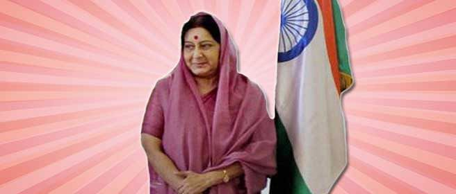 Sushma Swaraj, in the pink