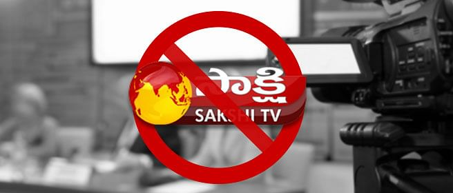 Why was Sakshi TV banned in Andhra Pradesh?