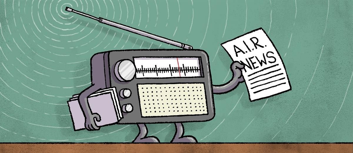 All India Radio offers its news bulletins to private FM stations for free. They aren't interested