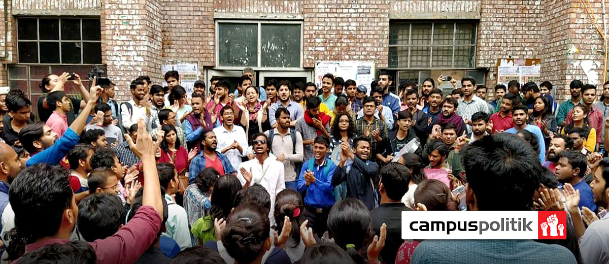 JNU students protest hostel fees hike, delay in paying sanitation, security staff