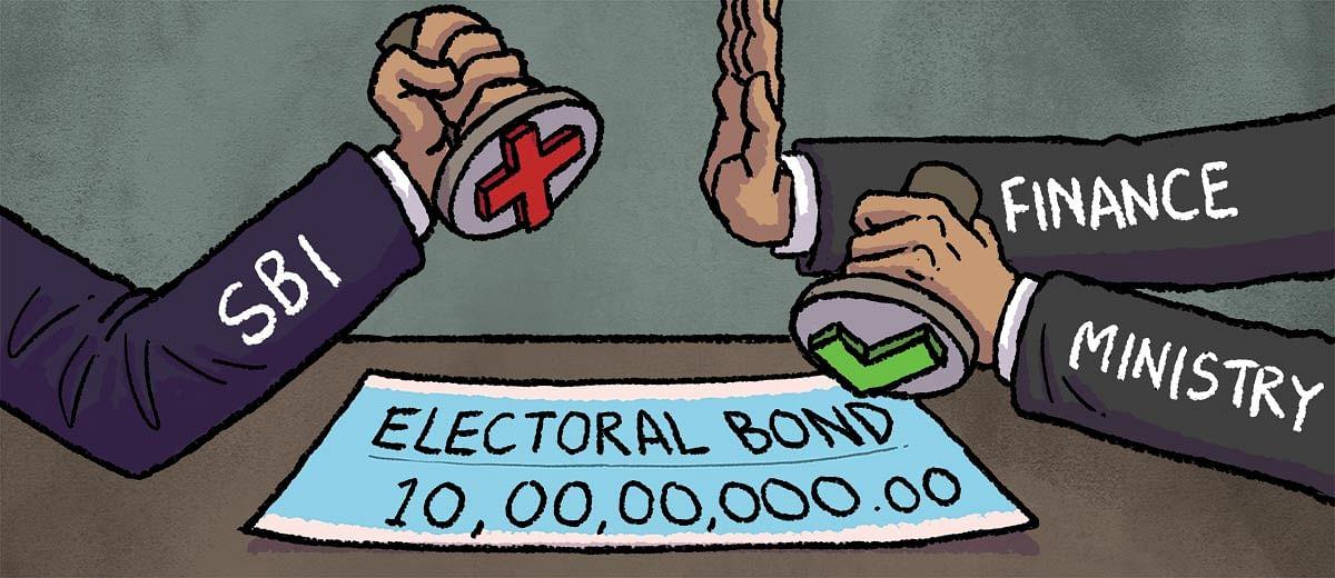 स्टेट बैंक ऑफ इंडिया ने वित्त मंत्रालय के निर्देश पर 10,00,00,000 का अवैध इलेक्टोरल बॉन्ड स्वीकार किया