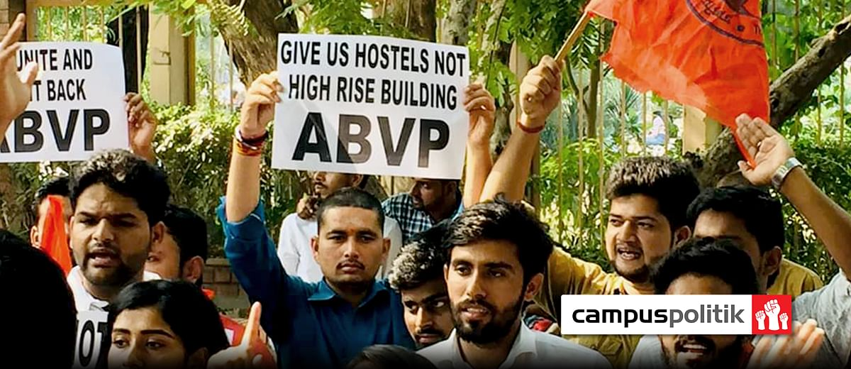 As private builder begins to erect skyscraper on land meant for public use, Delhi University erupts in protest