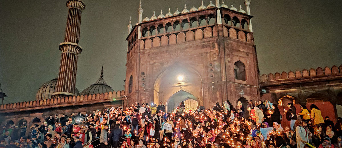 At Delhi's Jama Masjid, women and children power candle march against citizenship law