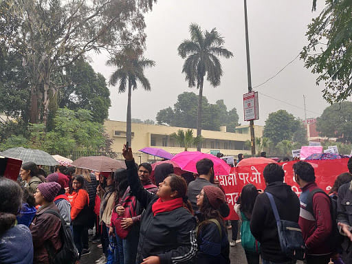 Marching on, despite the rain: Delhi University students protest against JNU violence, citizenship law