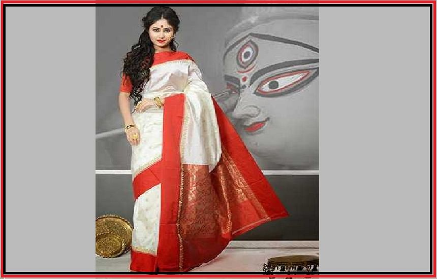 Cotton saree with red border, called Lal Paar Saree, inseparable from women of Bengal