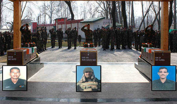 Army pays homage to 3 soldiers martyred Machil sector in J&K
