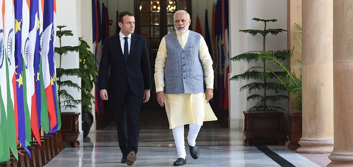 PM remembers Vedas while Macron recalls joint duties
