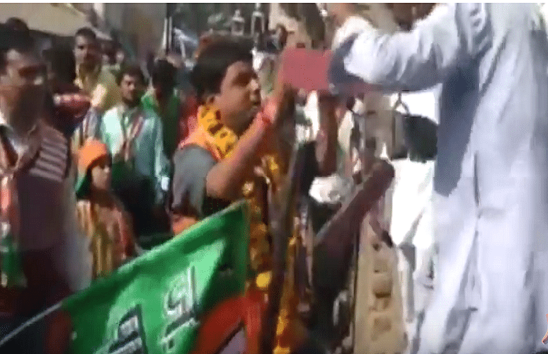 Garland of Shoes for BJP Candidate