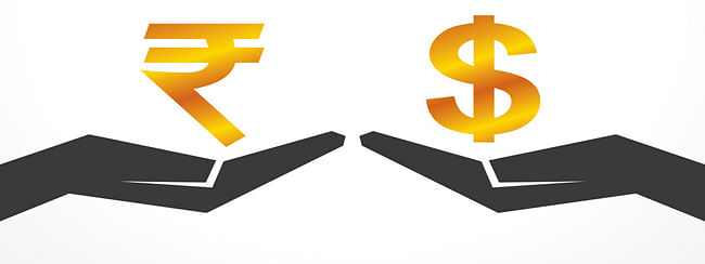 Rupee down 26 paise against USD