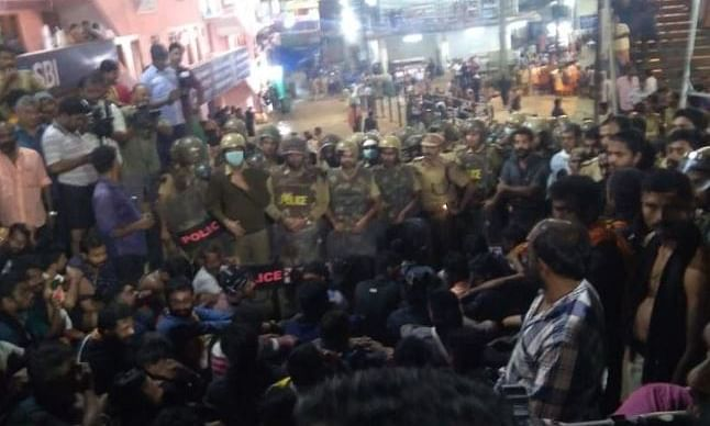 Over 25 detained after late night protest at Sabarimala