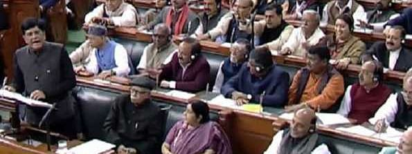 Goyal says 'conscious of Jaitley's absence', touches feet of senior lawmakers