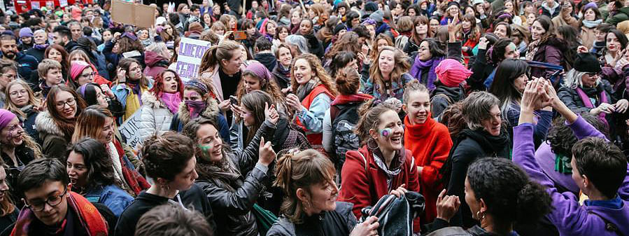 Women on strike for equal rights in Belgium