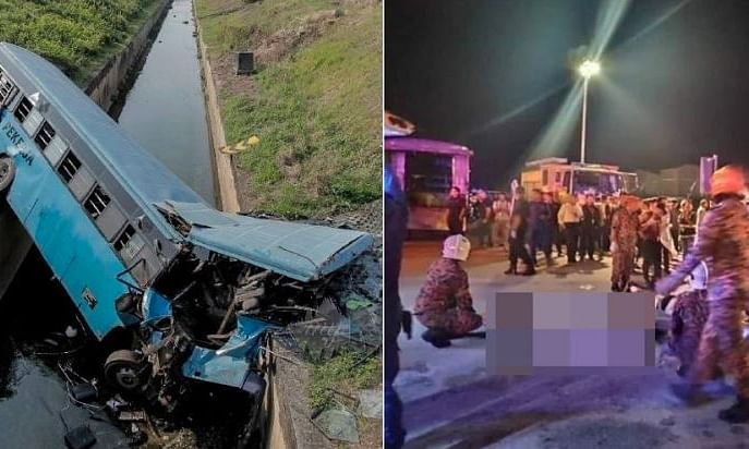 Factory Bus plunges into Monsoon Drain near KL International Airport ; 11 dead, 34 Injured