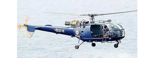 Indian Navy loses Chetak helicopter at sea; crew members safe