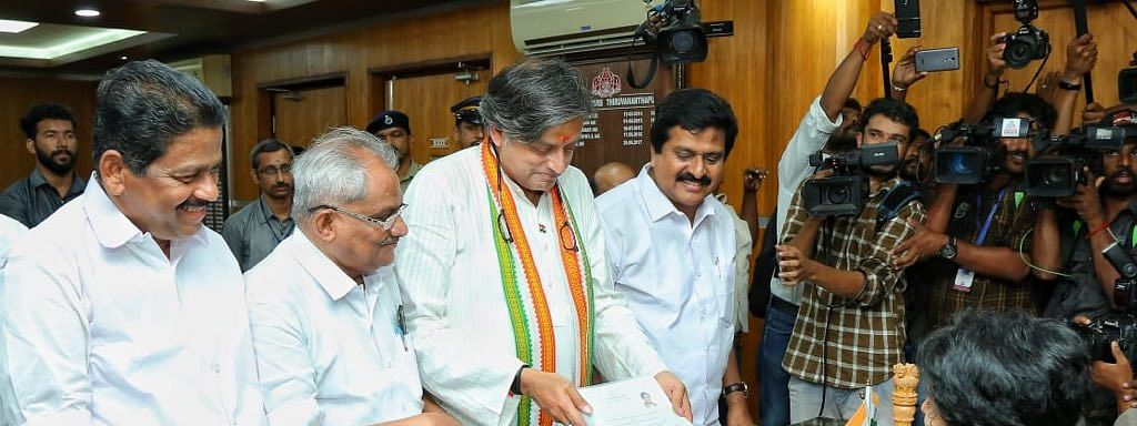 Shashi Tharoor files nomination papers