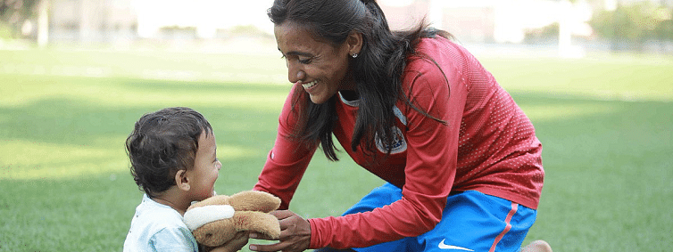 Amoolya, supermom balances motherhood and football with daughter