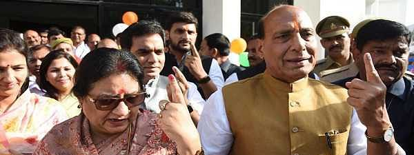Rajnath, Mayawati cast their votes in Lucknow; faulty EVMs delay polling