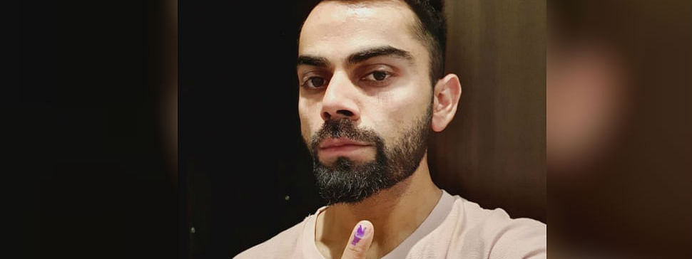 Kohli casts his franchise in Gurugram, urges voters to do same