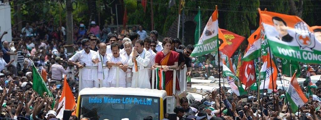 Thousands of Cong, IUML supporters parade to greet Rahul Gandhi
