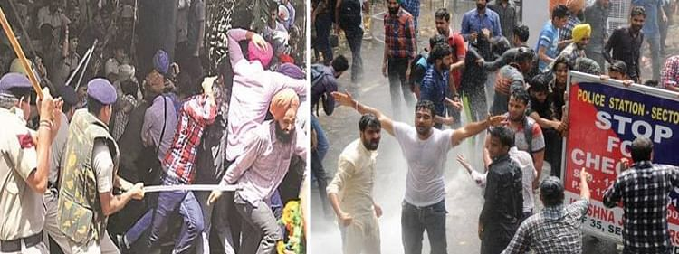 Police lob teargas shells and charge water cannons to disperse agitating BJP workers near Lalbazar