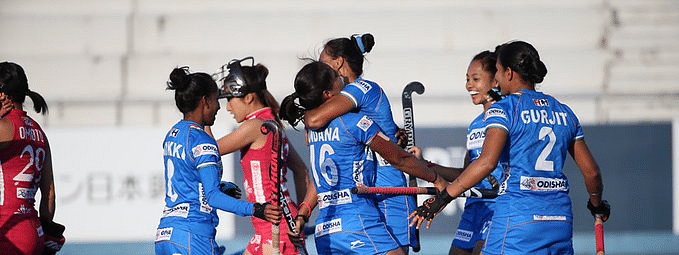 Victorious Indian Women's Hockey Team back home