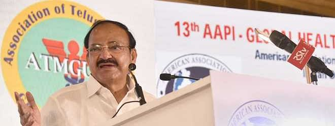 Naidu addresses 13th global healthcare summit