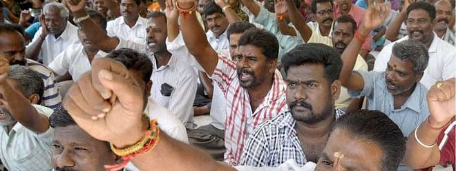PAPSCO Puducherry employees on strike to press their demands