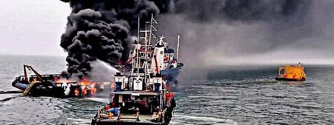 Seven killed, 4 missing as ship catches fire