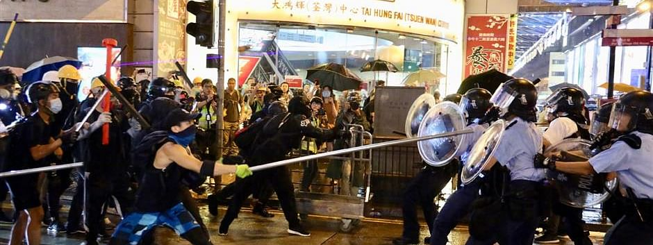 Hong Kong protests turn violent, 15 policemen injured