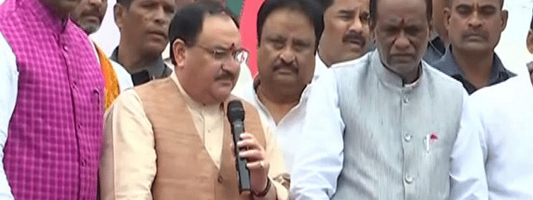 BJP working President Nadda arrives in Hyderabad