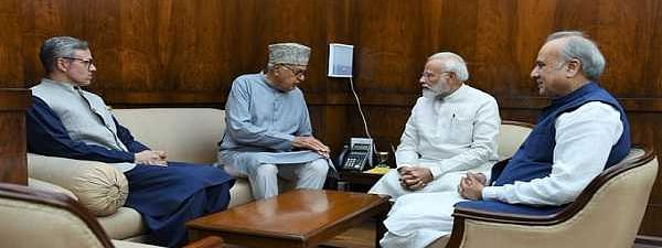 With J&K polls on backdrop, Abdullahs meet PM Modi