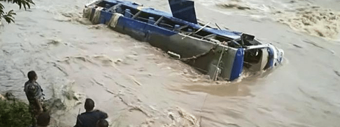 Five dead, many missing as bus falls into river in Nepal