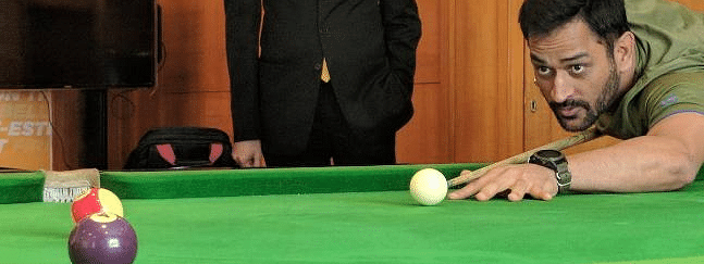 MS Dhoni spotted playing Billiards