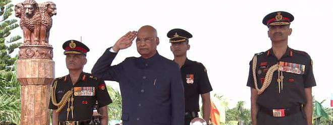 Prez awards Colours to Corps of Army Air Defence